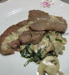 Kremalı Mantar ve Ispanak Soslu Biftek